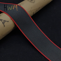 Black / Red Contrast Color Flat Polyester Webbing